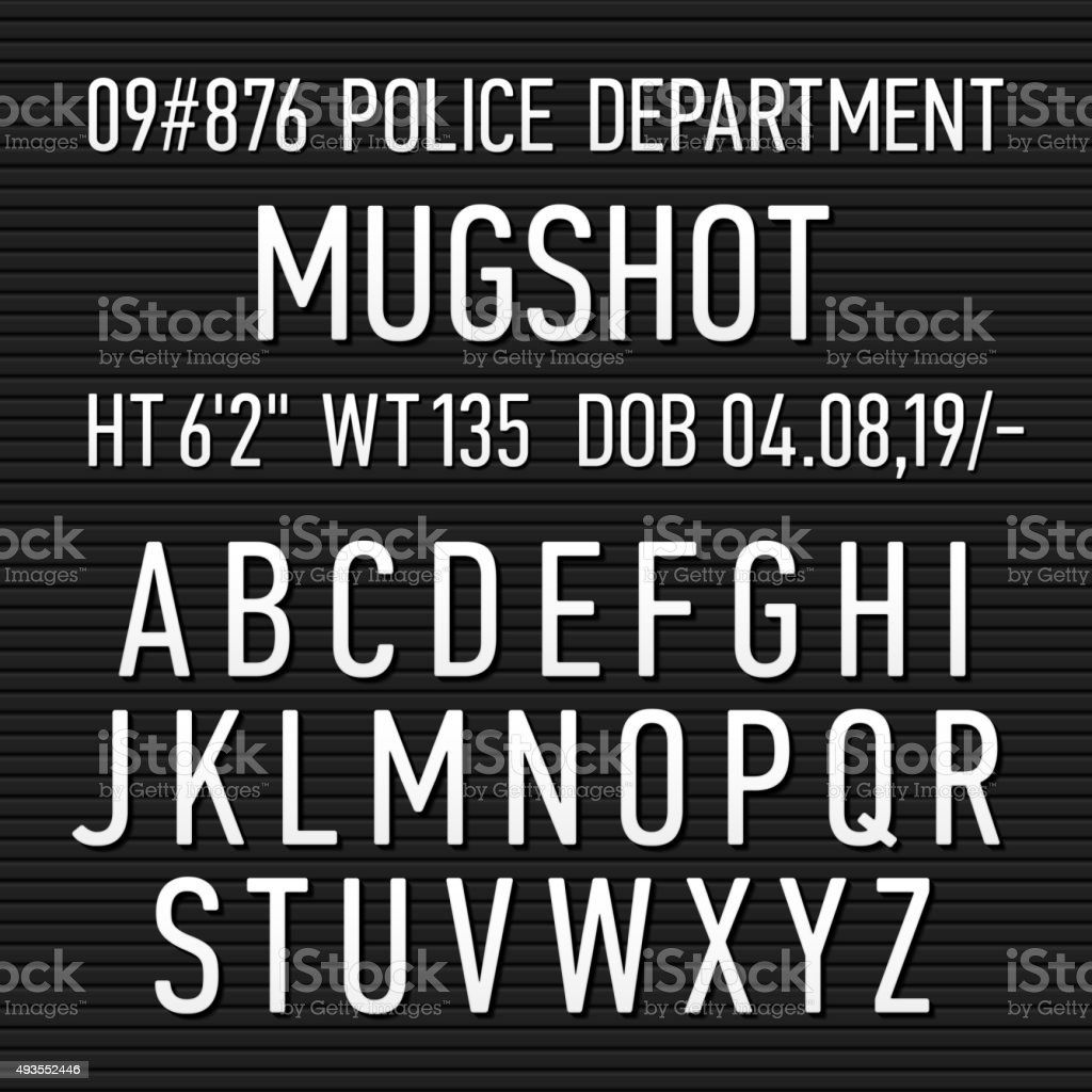 Police mugshot board sign alphabet vector art illustration