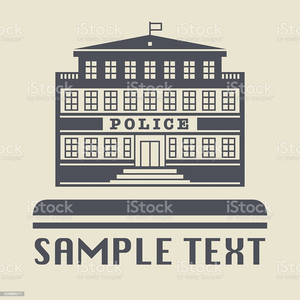 Police Office building icon vector art illustration