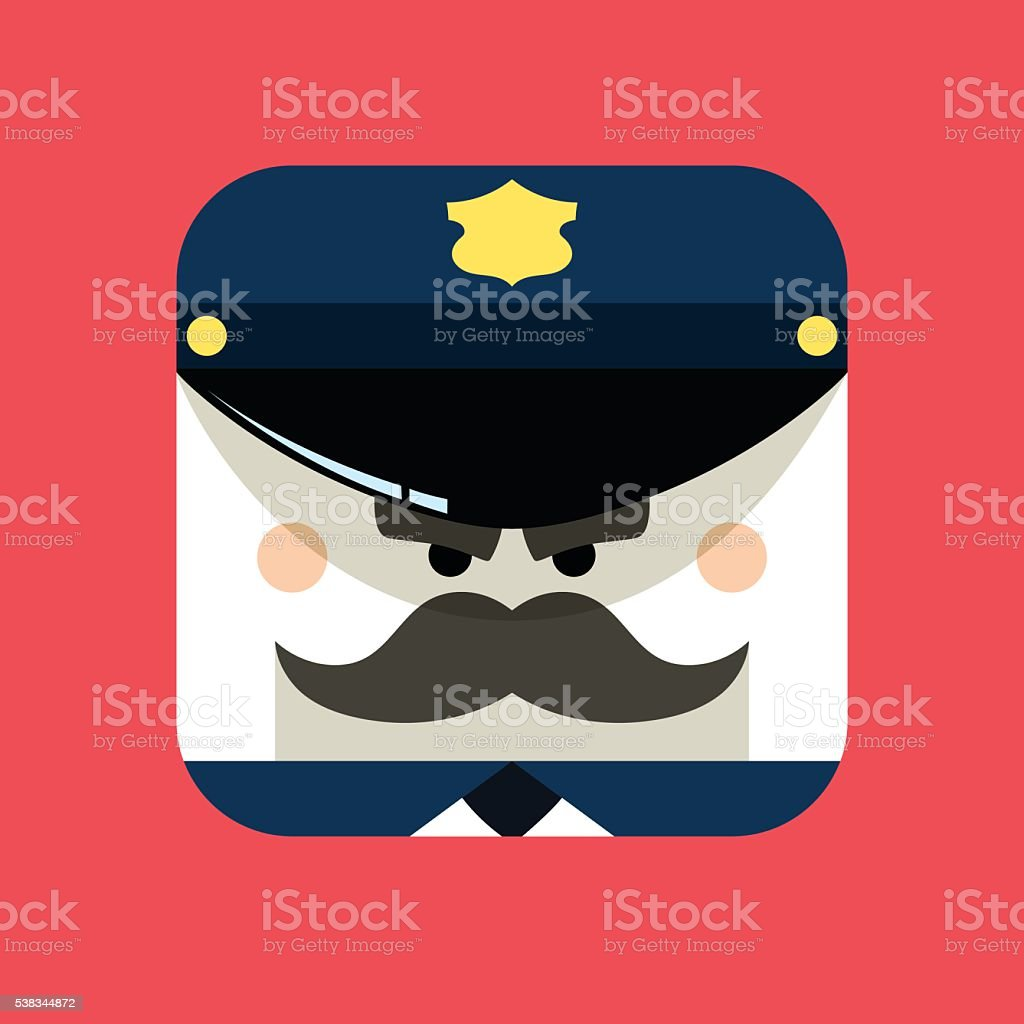 Police officer avatar illustration. Trendy policeman icon in flat style. vector art illustration