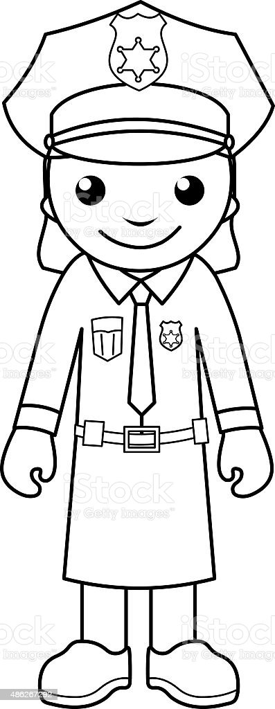 police officer coloring page for kids royalty free stock vector art