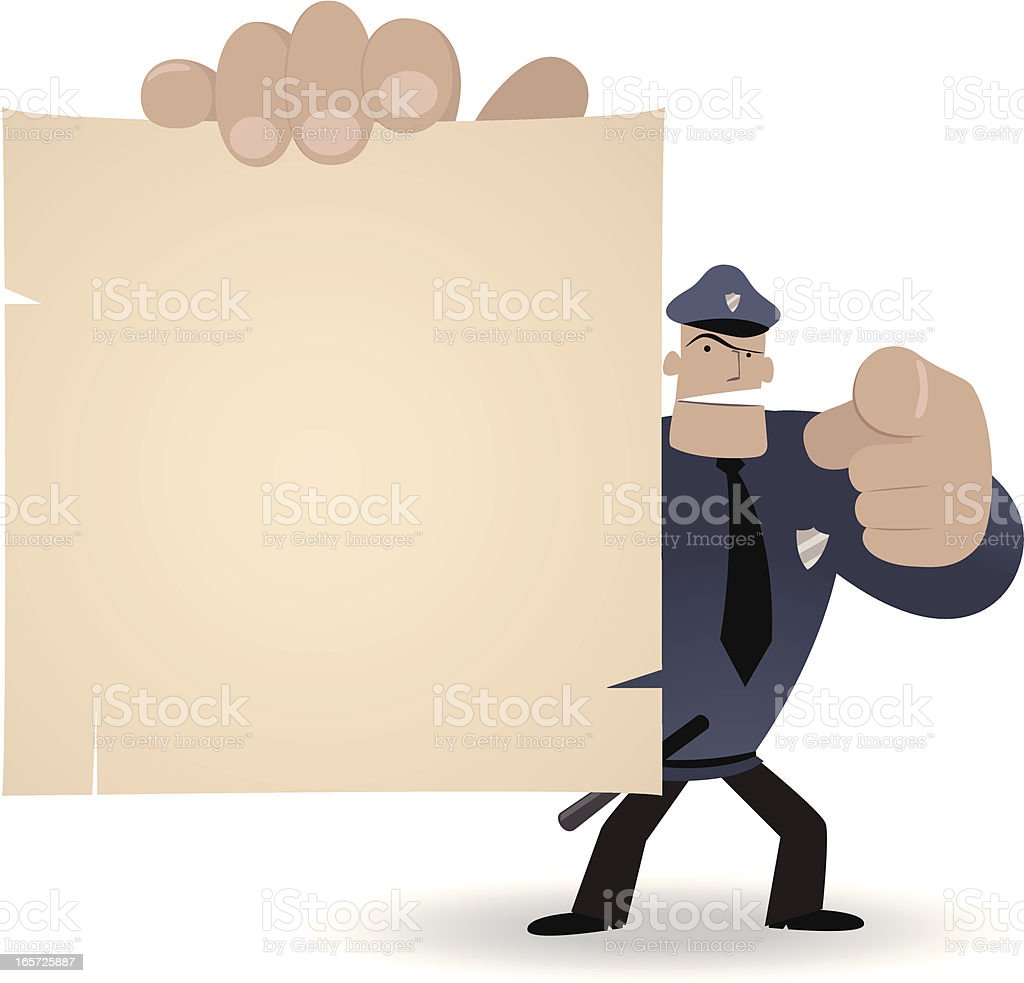 Police Officer holding a blank sign and pointing at you vector art illustration