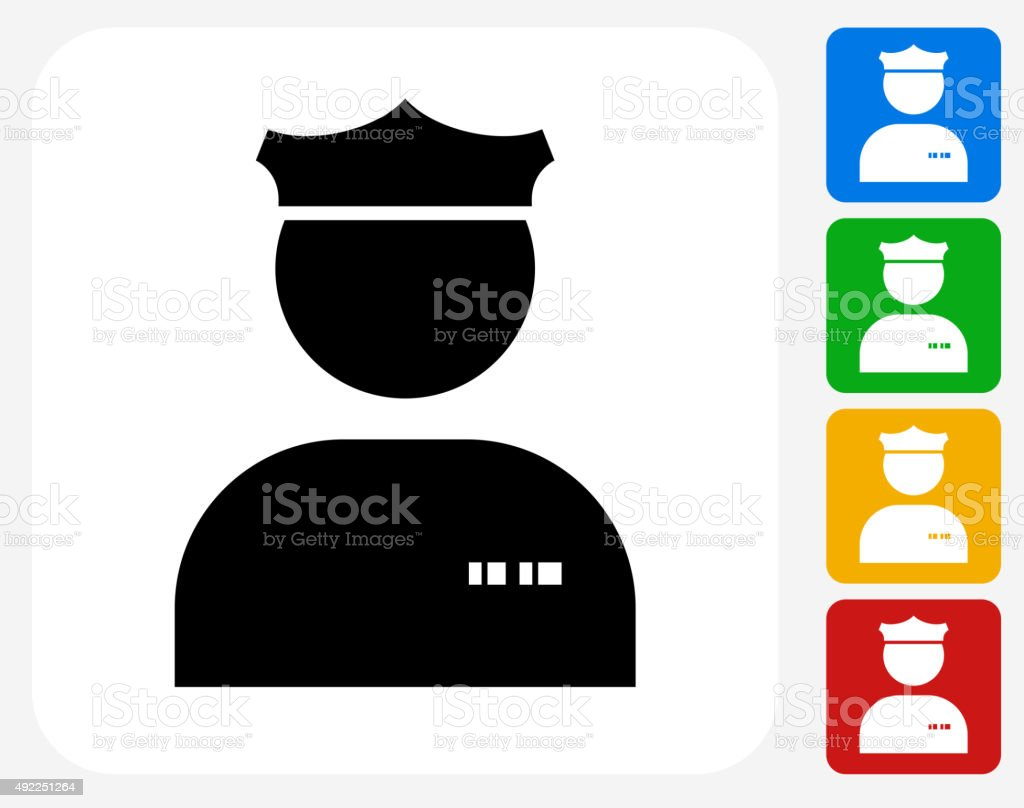 Police Officer Icon Flat Graphic Design vector art illustration