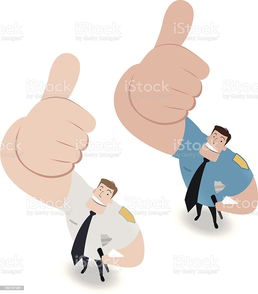 Police Officer Looking Upward And Gesturing Thumbs Up royalty-free stock vector art