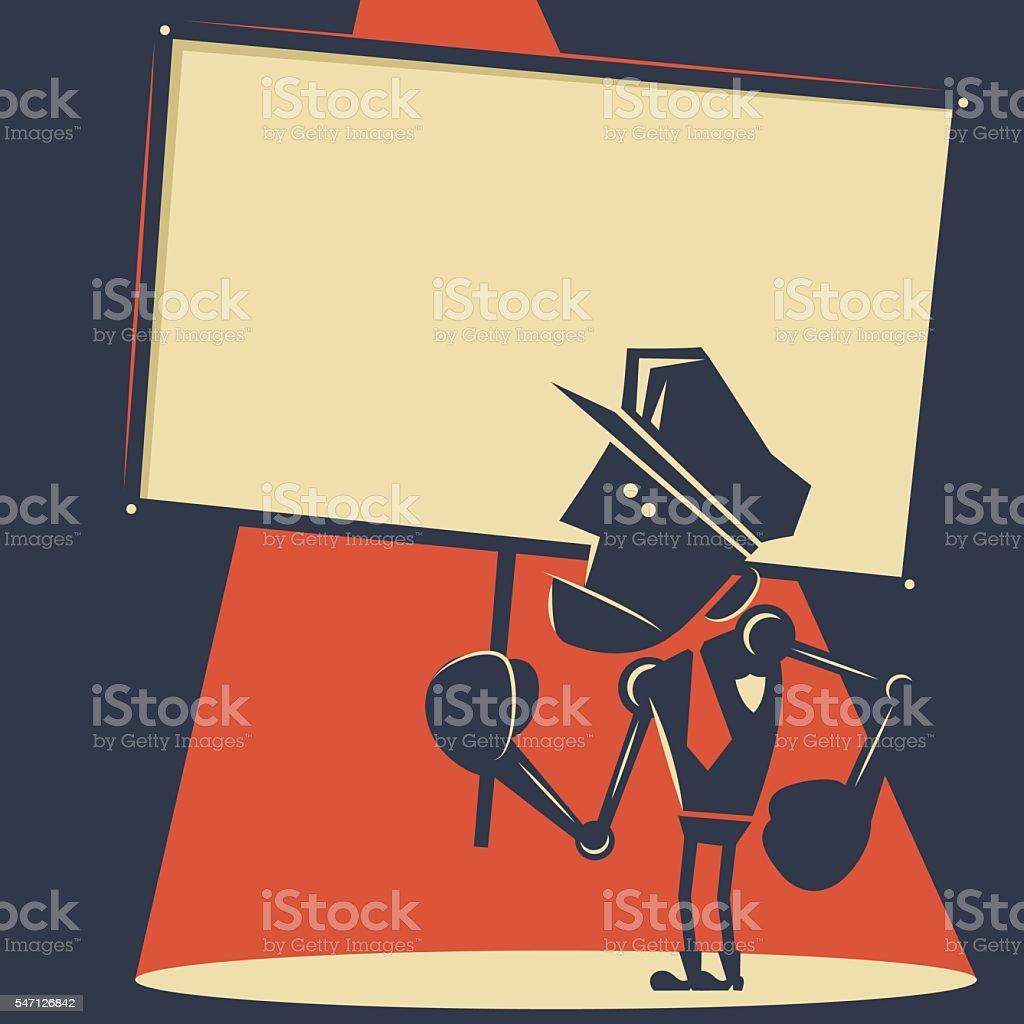 Police officer robot holding blank sign vector art illustration