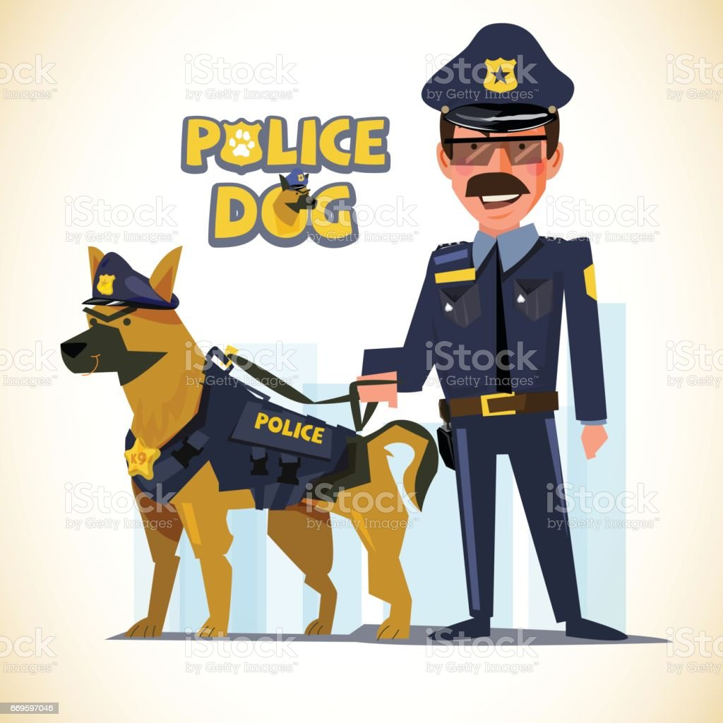 police officer standing with his partner. police dog. character design - vector vector art illustration