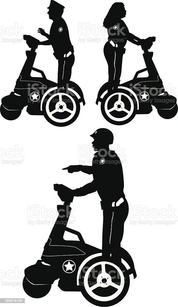 Police Officers on Segway vector art illustration