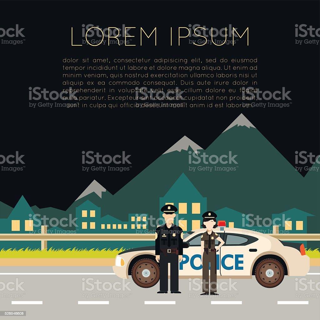 Police on the road banner5 vector art illustration