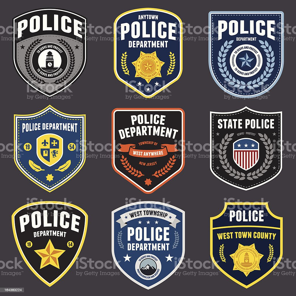 Police patches vector art illustration