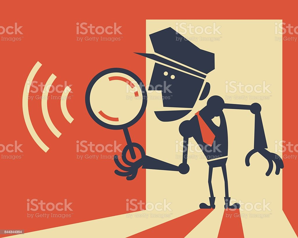 Police robot holding a magnifying glass vector art illustration