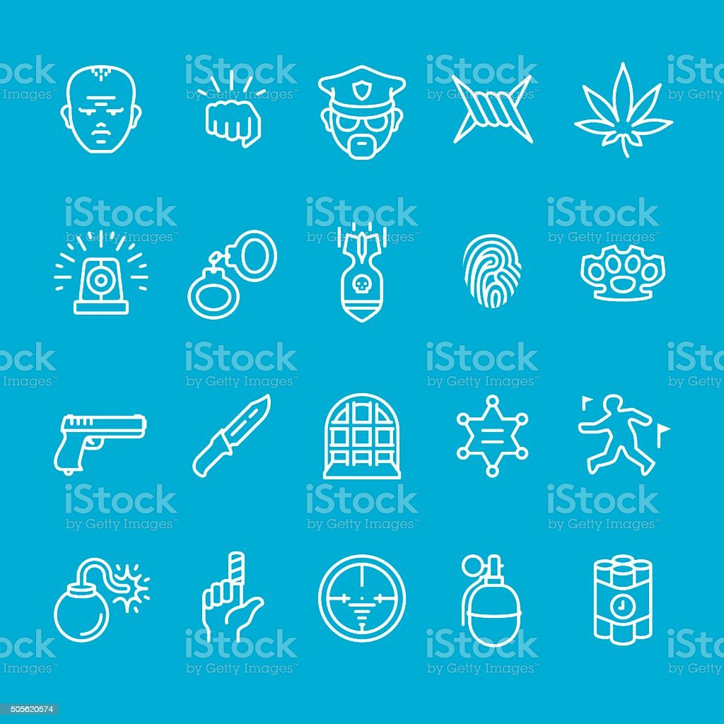 Police service and Security icons collection vector art illustration