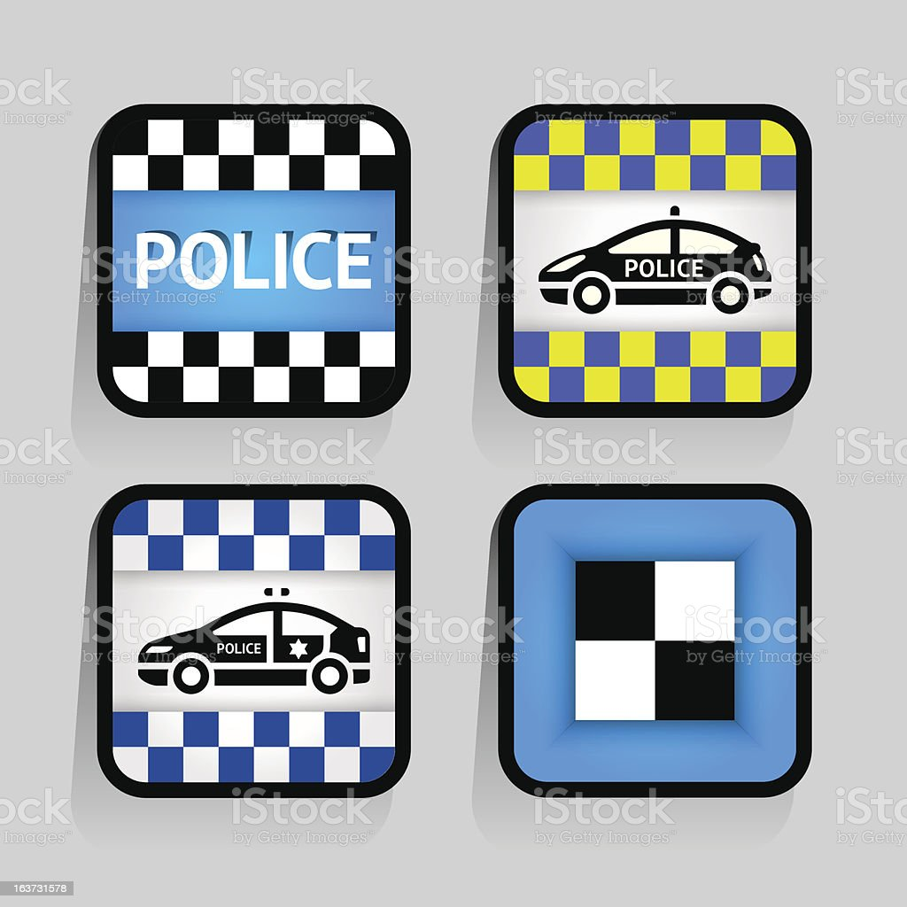 Police - set stickers square on the gray background royalty-free stock vector art