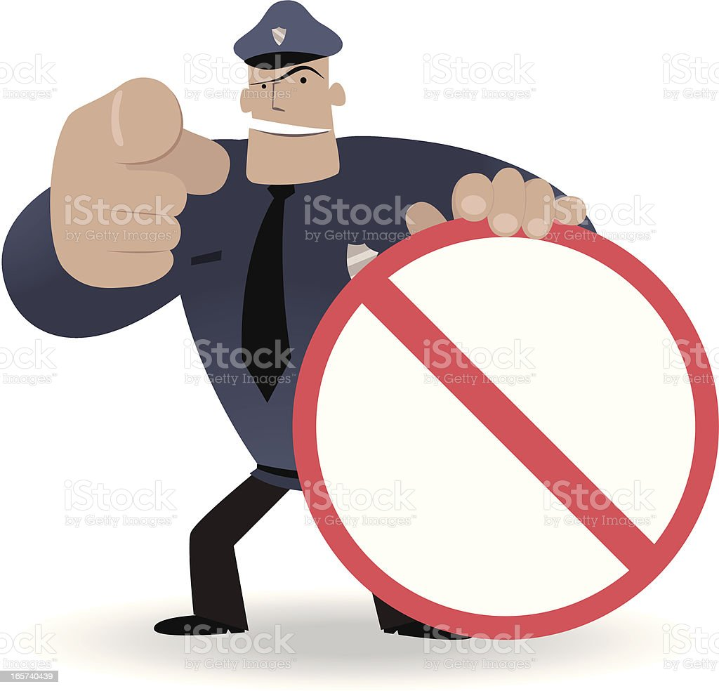 Police showing a prohibition sign and pointing at you vector art illustration