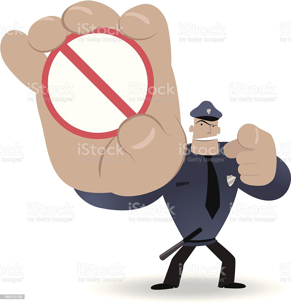 Police showing a prohibition sign and pointing at you royalty-free stock vector art
