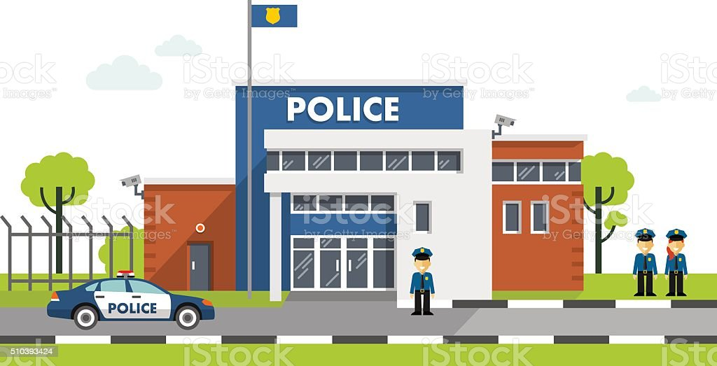 Police station building isolated on white background vector art illustration