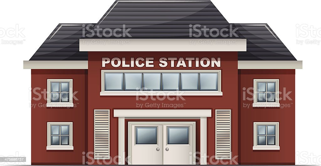police station building vector art illustration