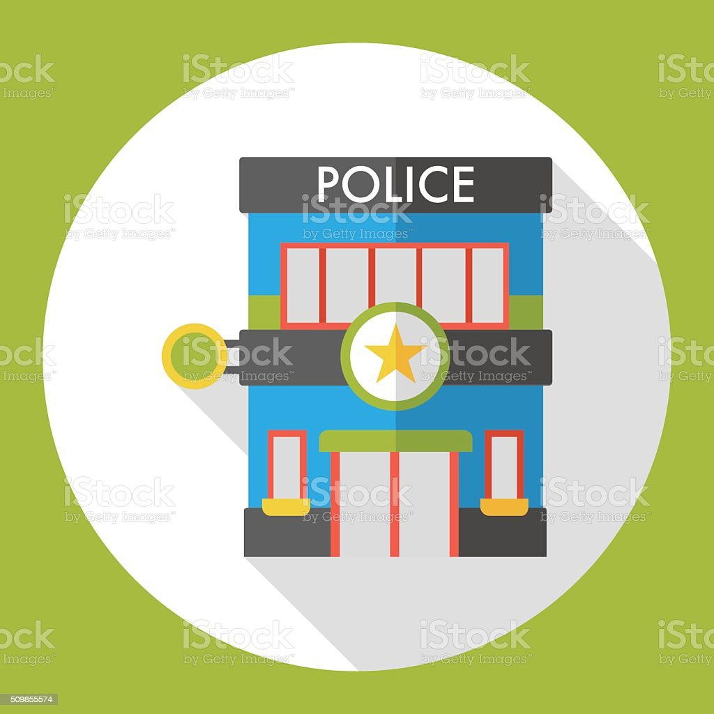 police station flat icon vector art illustration