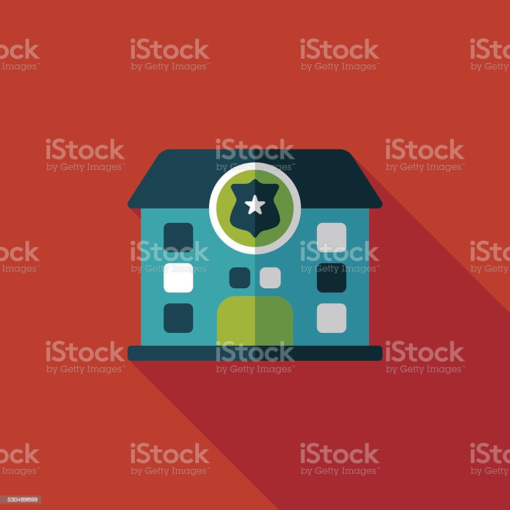 police station flat icon with long shadow,eps10 vector art illustration