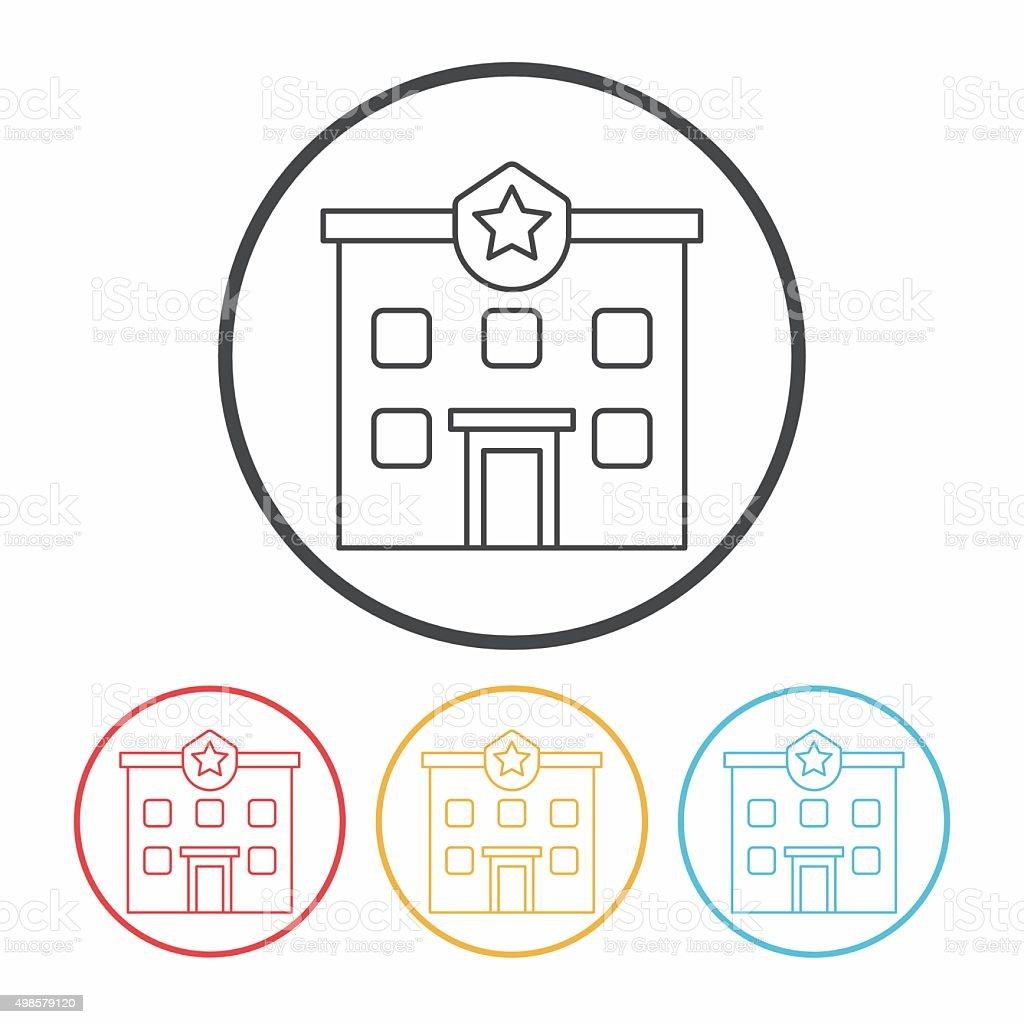 police station line icon vector art illustration