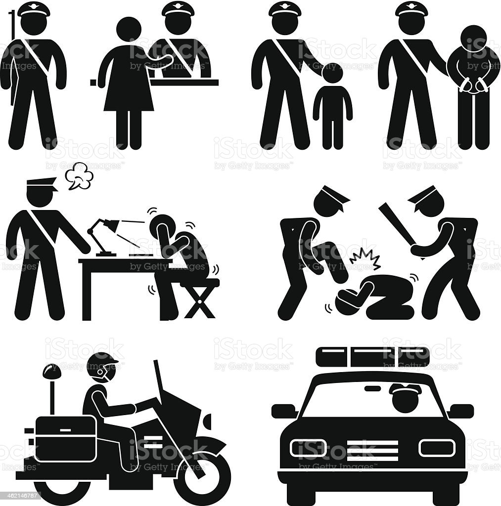 Police Station Policeman Report Pictogram royalty-free stock vector art