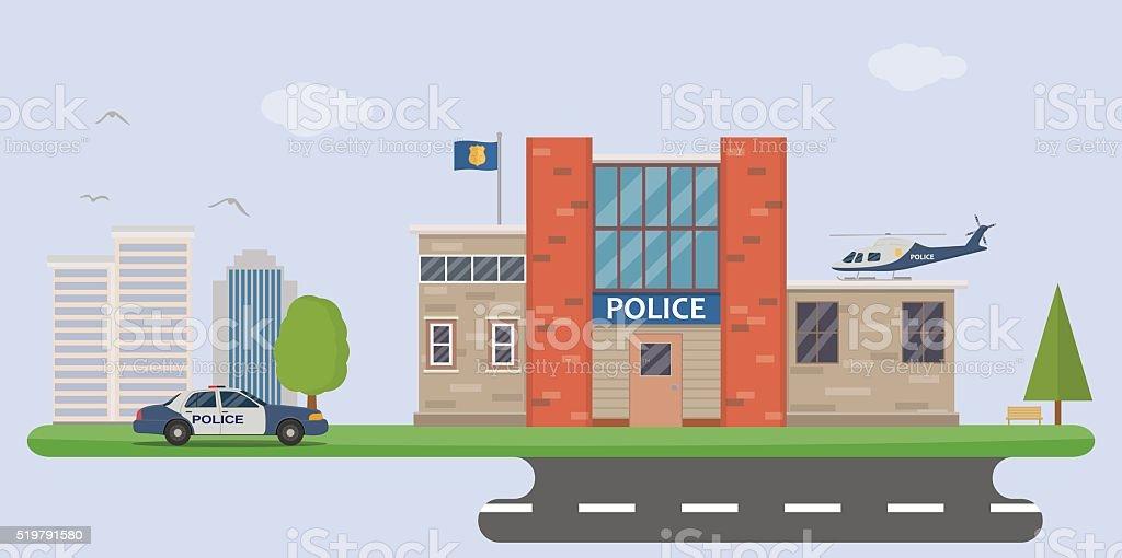 Police station vector art illustration