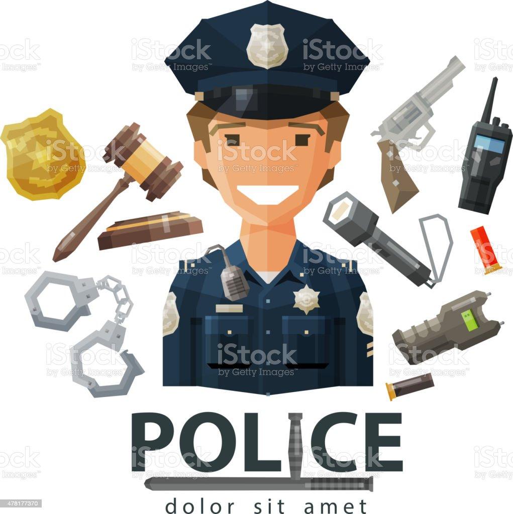 police vector logo design template. policeman, cop or law, constabulary vector art illustration