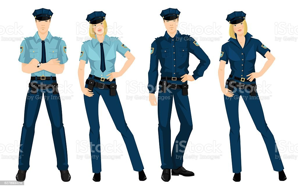 Police woman and police man in uniform vector art illustration