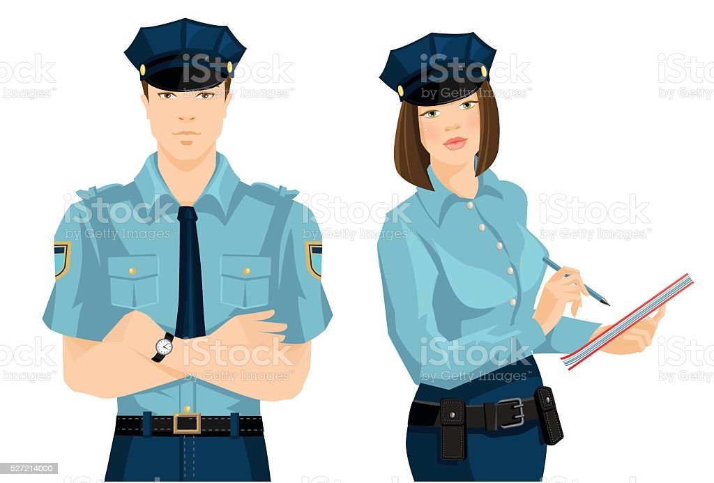 Police woman and police man vector art illustration
