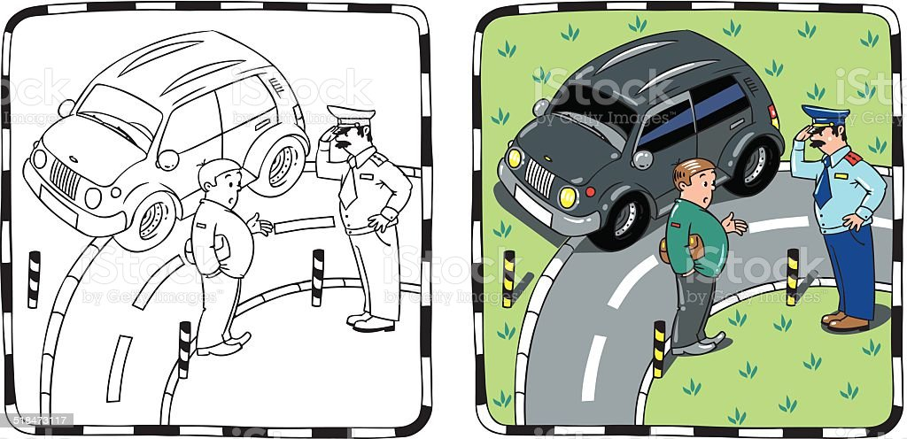 Policeman and car driver. Coloring book vector art illustration