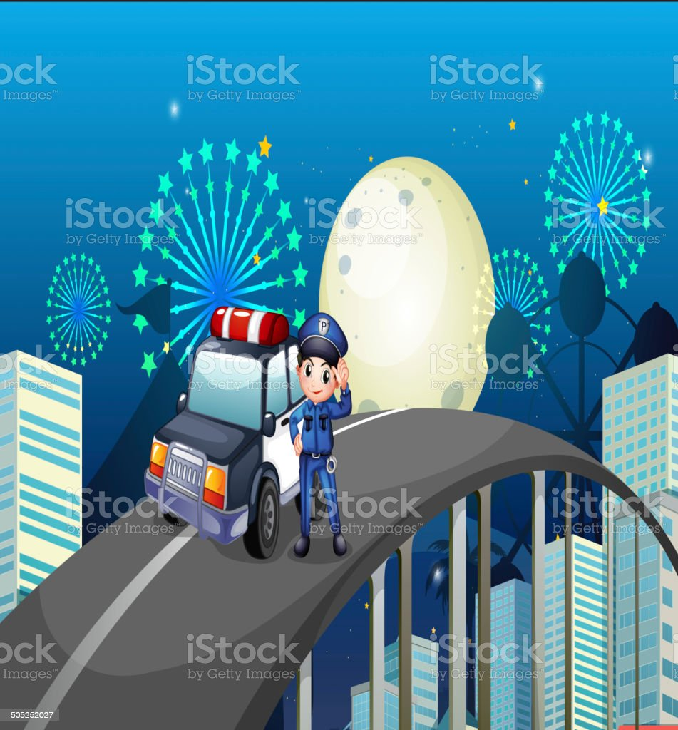 Policeman and his patrol car in the middle of road vector art illustration