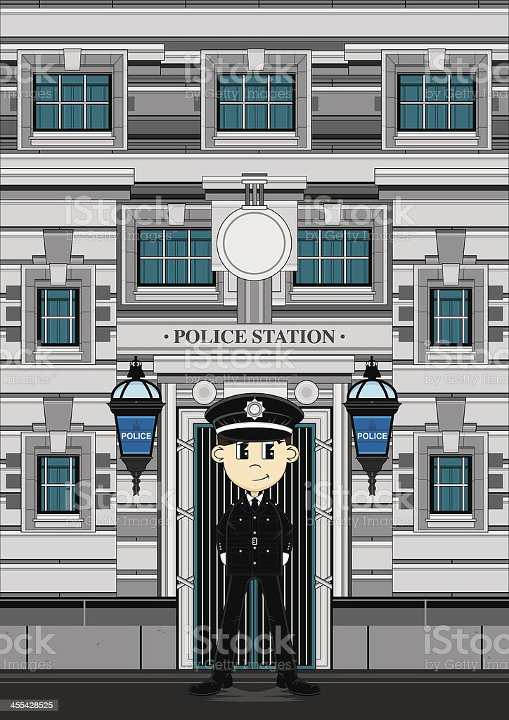 Policeman and Police Station royalty-free stock vector art