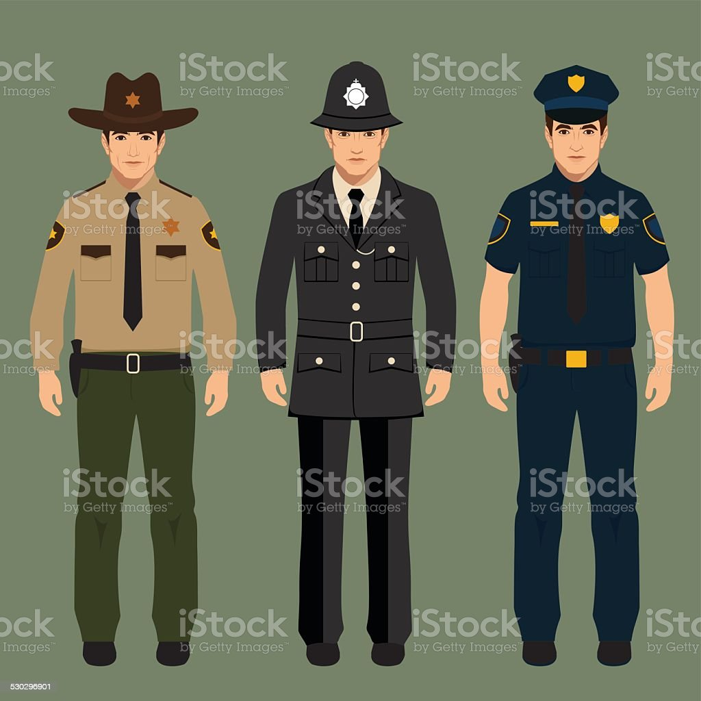 policeman and sheriff vector art illustration
