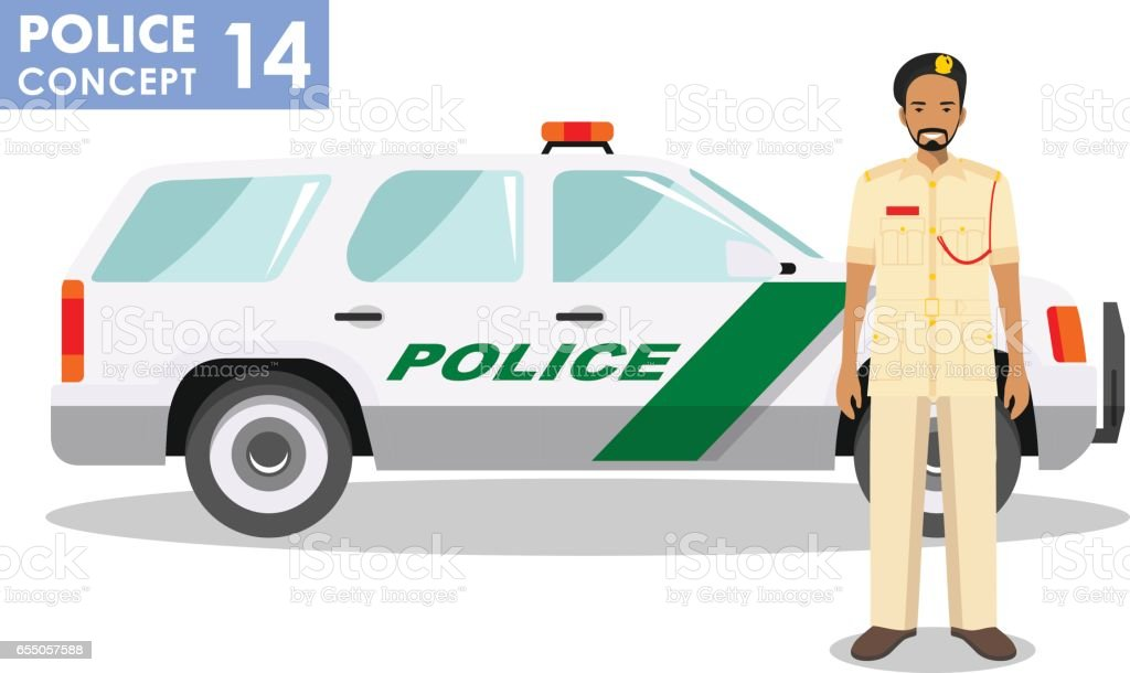 Policeman concept. Detailed illustration of arabian muslim policeman officer and police car in flat style on white background. Vector illustration vector art illustration