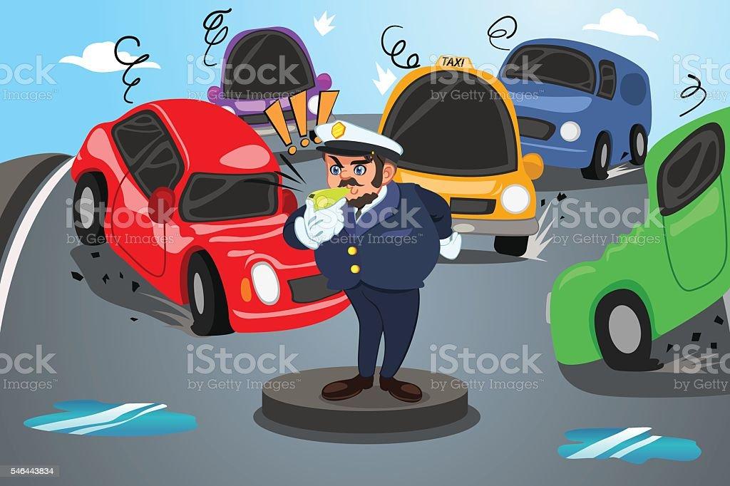 Policeman Direct Traffic vector art illustration