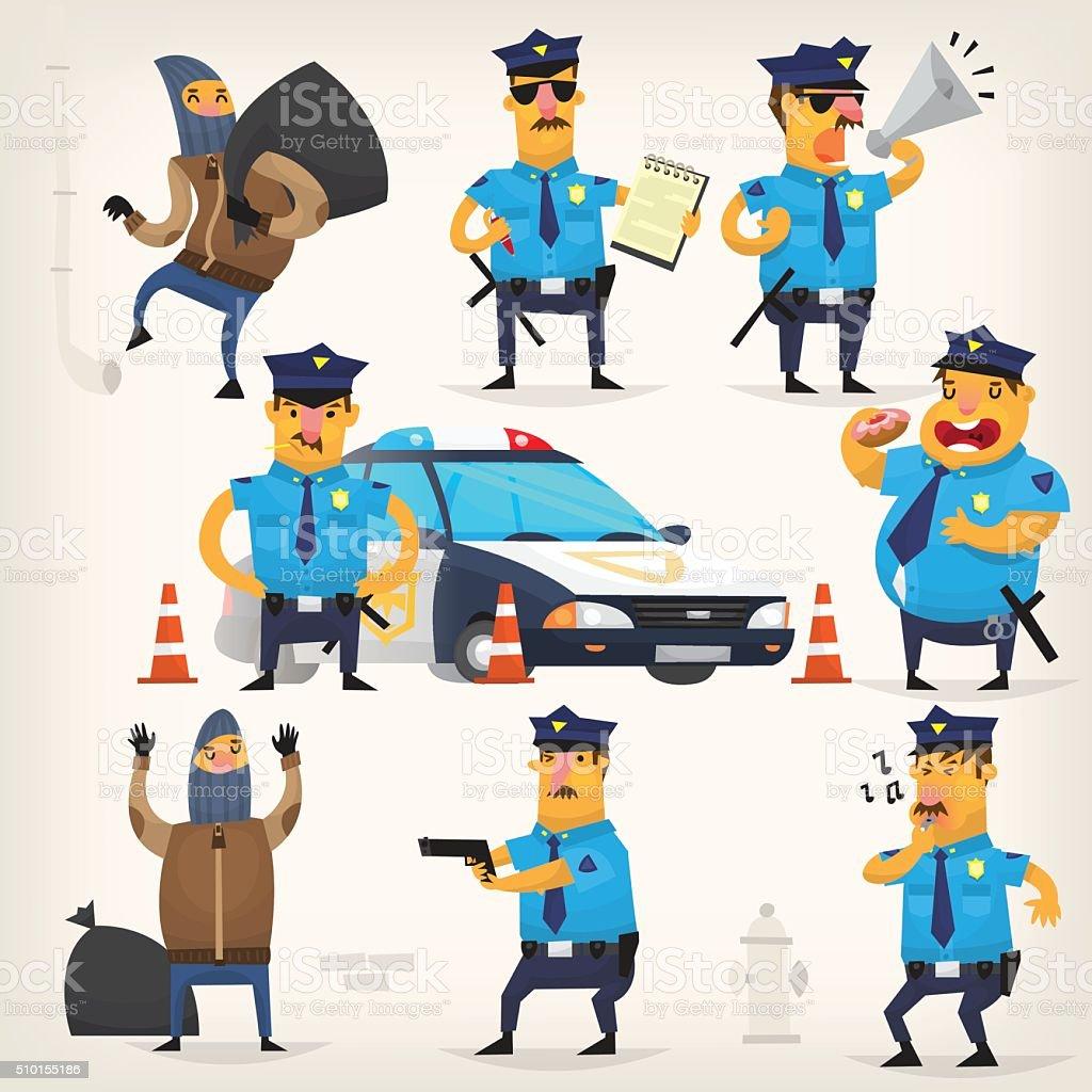 Policeman doing their job vector art illustration