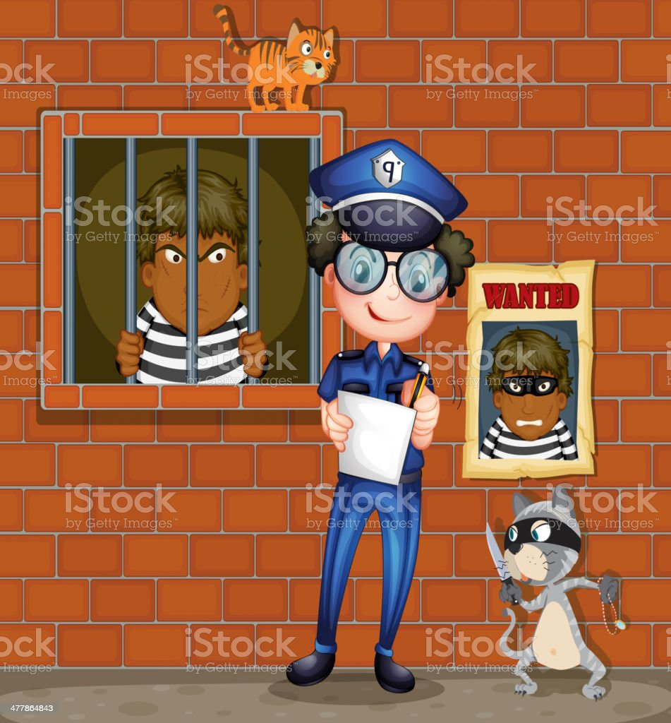 Policeman holding pen and paper with two cats in jail royalty-free stock vector art