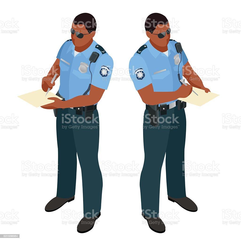 Policeman in uniform. vector art illustration