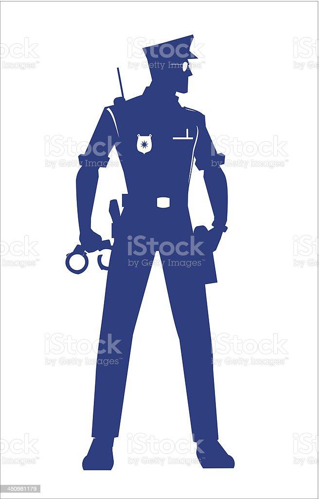 Policeman isolated, full body silhouette. vector art illustration