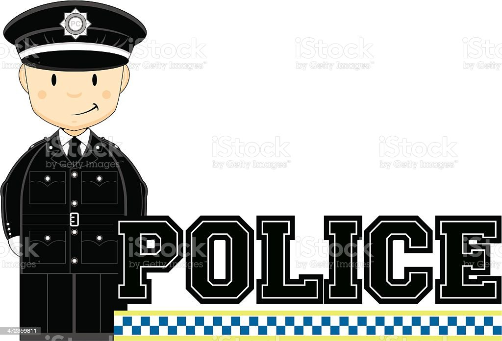 Policeman Learn to Read Illustration royalty-free stock vector art