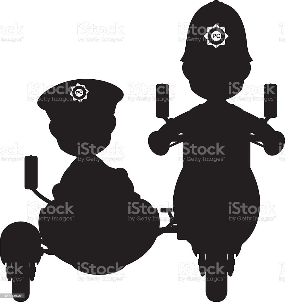 Policeman on Scooter with Sidecar Silhouette royalty-free stock vector art
