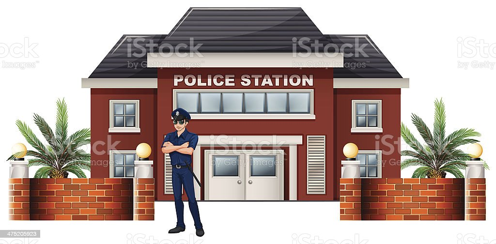 policeman standing in front of the police station vector art illustration