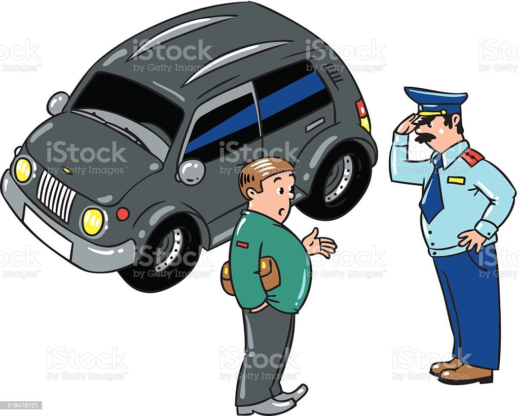 Policeman stopped the car, talking with the driver vector art illustration