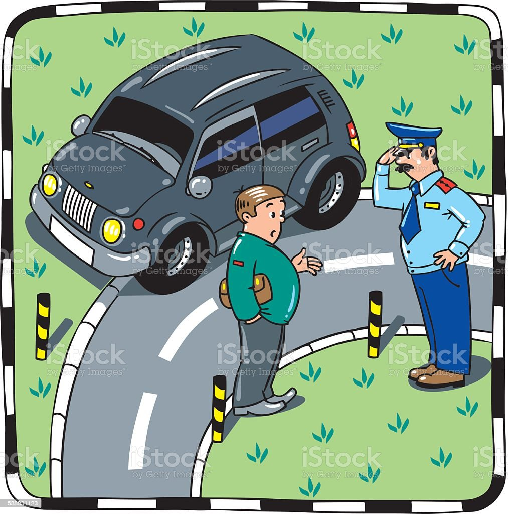 Policeman talking with the car driver vector art illustration
