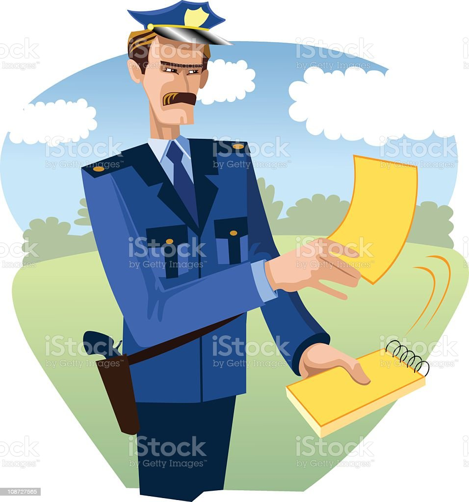 Policeman with ticket royalty-free stock vector art
