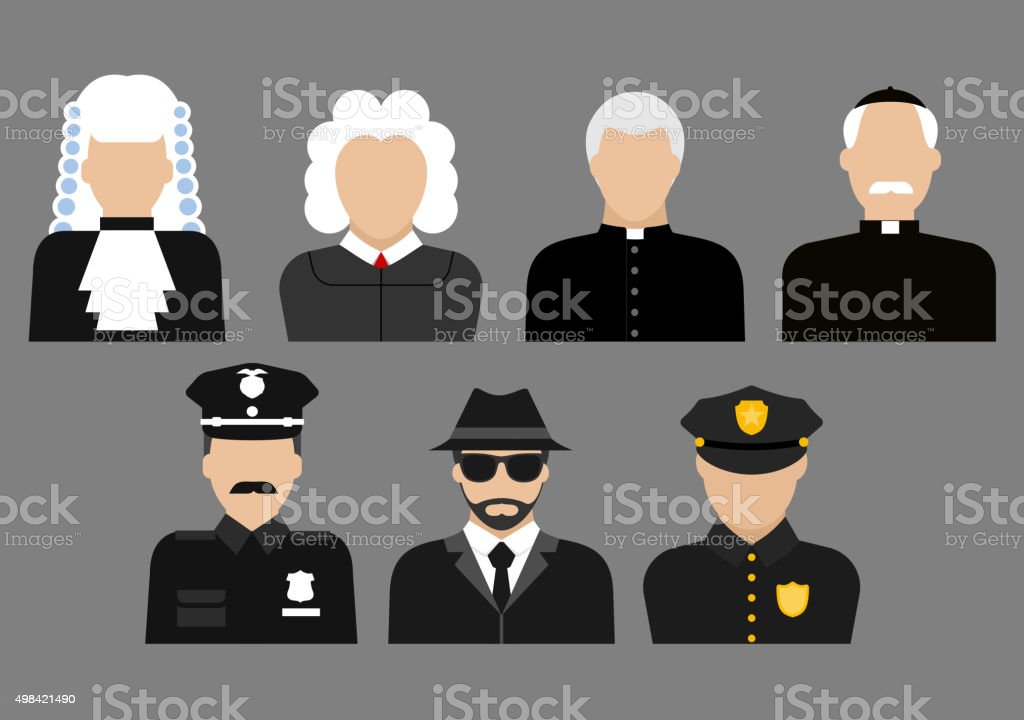 Policemen, judges, priests and detective avatars vector art illustration
