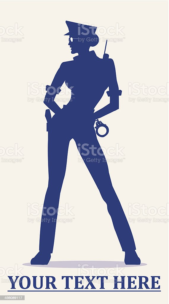 policewoman holding the handcuffs vector art illustration