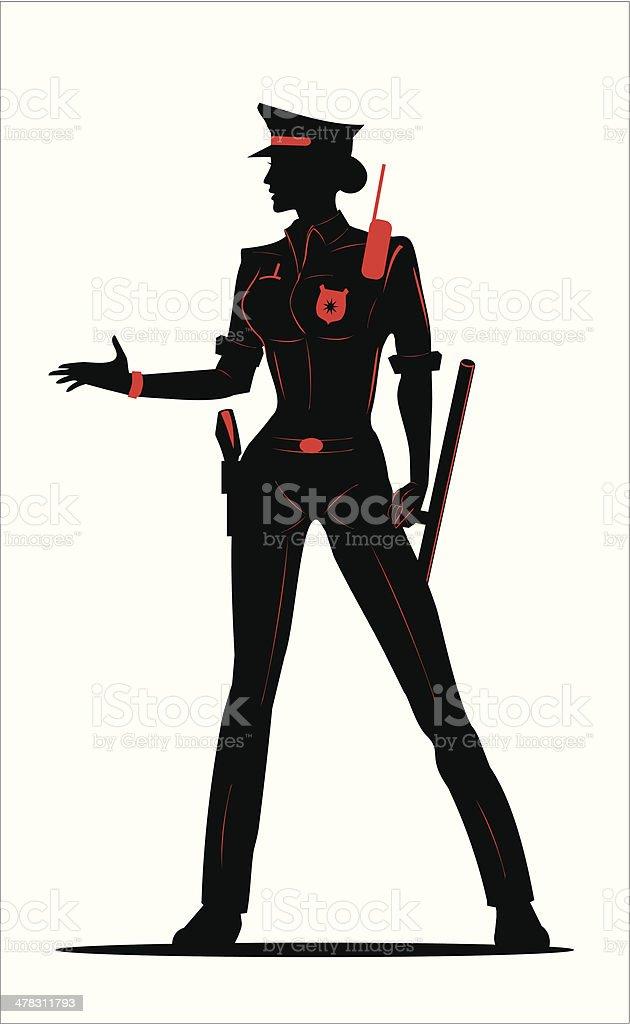 policewoman in Black & Red vector art illustration