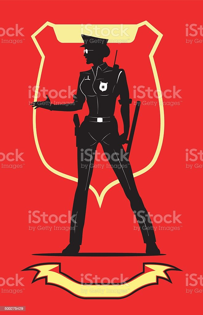 policewoman with the glasses over the red background vector art illustration
