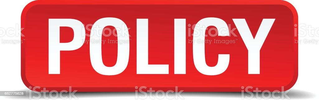 Policy red 3d square button isolated on white vector art illustration