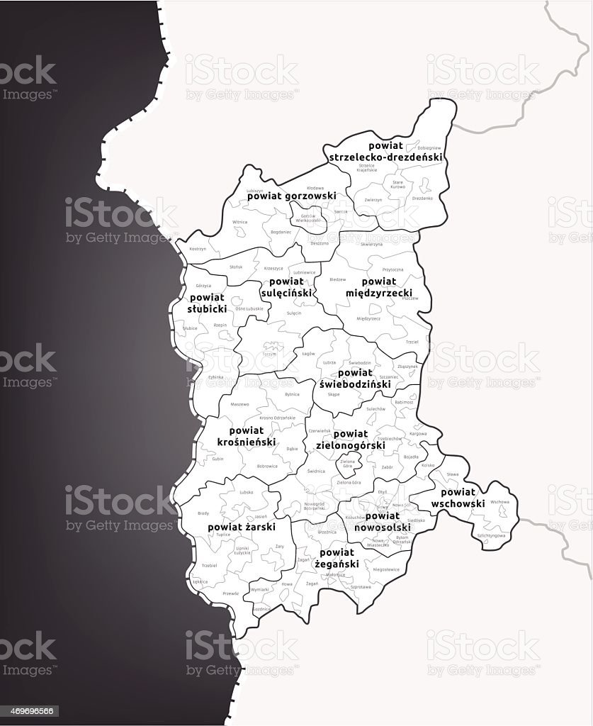 Polish administrative map 2014 - LUBUSKIE voivodeship in Vector vector art illustration