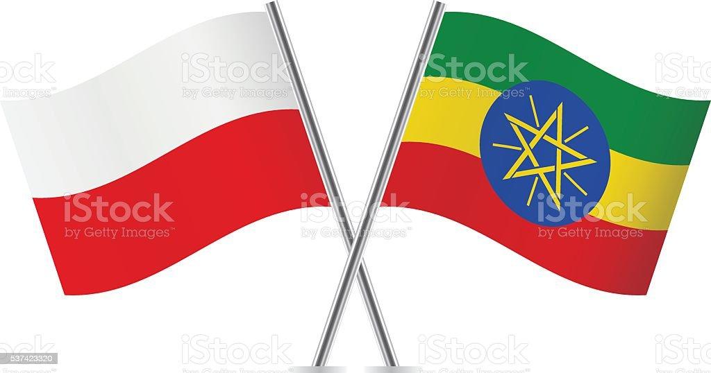 Polish and Ethiopian flags. Vector. vector art illustration